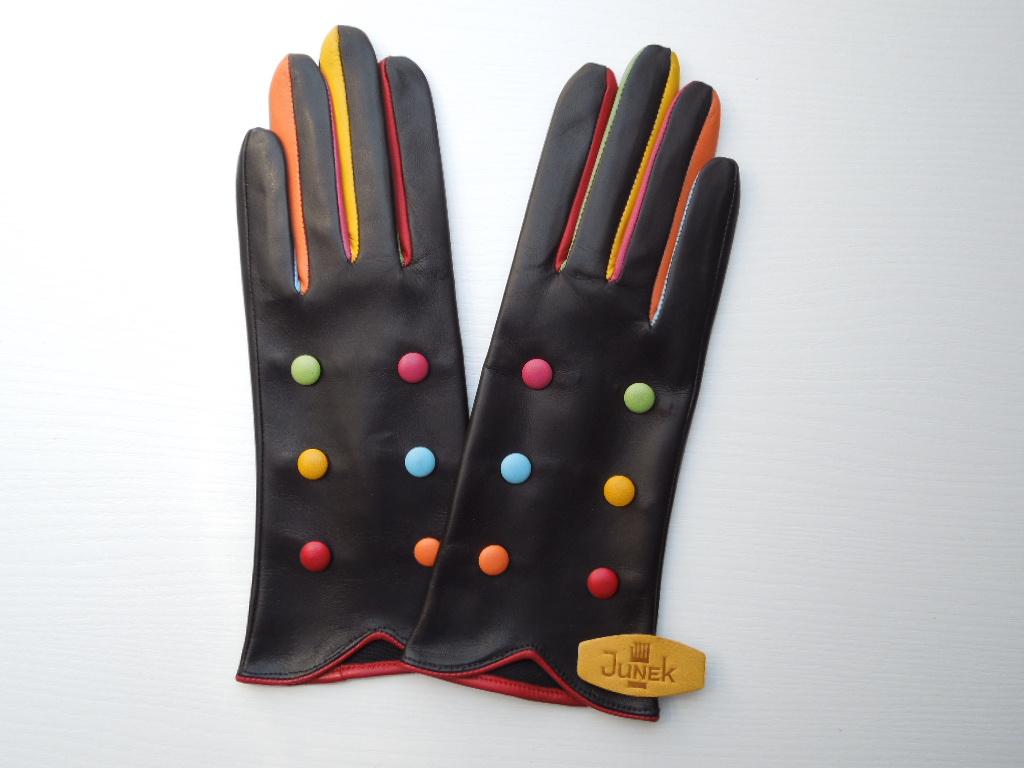 Módní dámské kožené rukavice s knoflíčky 20121 fe0e9e99eb